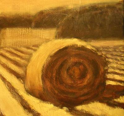 Haybale Painting - Morning Haybale by Jaylynn Johnson
