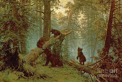 Morning In A Pine Forest Art Print by Ivan Ivanovich Shishkin