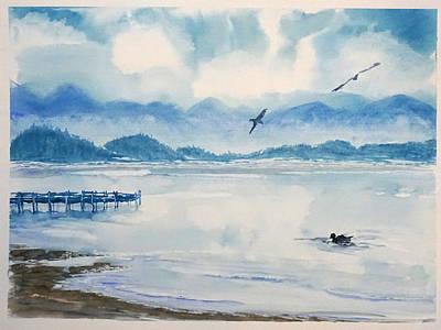 Morning In Blue Art Print by Yuliya Schuster