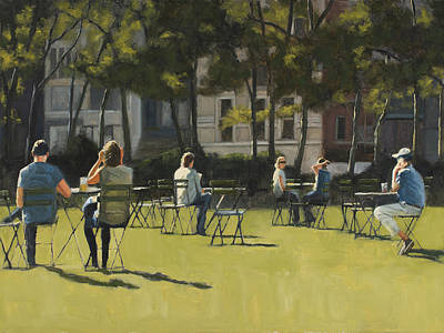 Bryant Park Painting - Morning In Bryant Park Two by Tate Hamilton