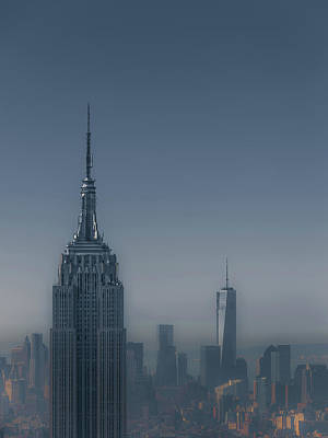 Blue Buildings Photograph - Morning In New York by Chris Fletcher