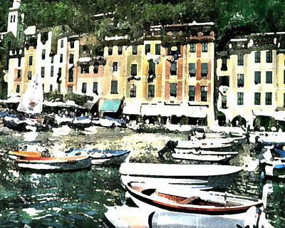 Digital Art - Morning In Portofino by Donna Corless