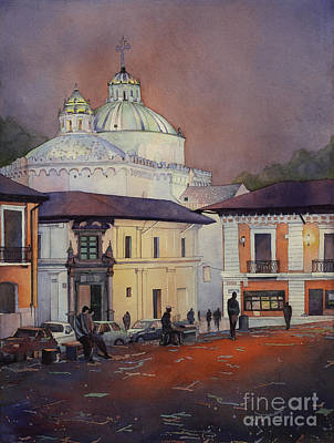 Religious Artist Painting - Morning In The Plaza- Quito, Ecuador by Ryan Fox