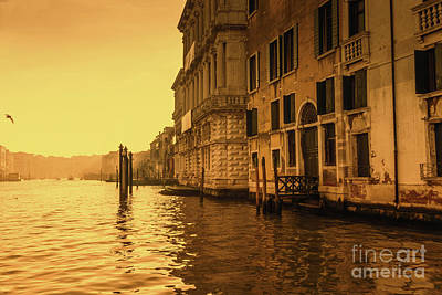 Morning In Venice Sepia Art Print