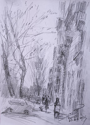 Landscapes Drawing - morning in Via Nomentana Rome by Ylli Haruni