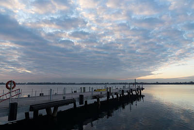 Lakefront Wharf Photograph - Morning Jetty - A Luminous Daybreak On The Lake by Georgia Mizuleva