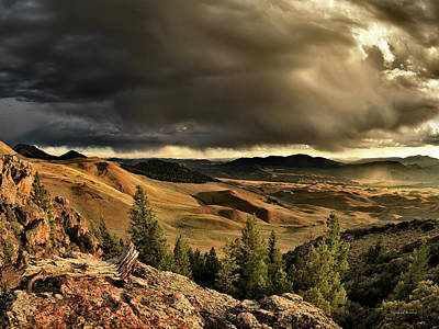 Lost River Mountains Photograph - Morning Light And Thunder Shower by Leland D Howard