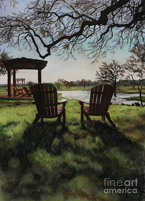 Drawing - Morning Light At The Vineyard Florence Texas by Kelly Borsheim