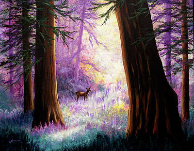 Redwoods Painting - Morning Light Deep In The Redwoods by Laura Iverson