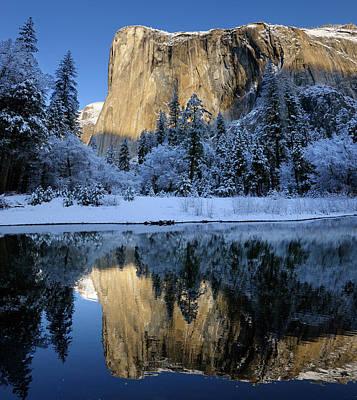 Yosemite Photograph - Morning Light On El Capitan In Winter Reflected In The Merced Ri by Reimar Gaertner