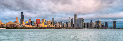 Skylines Royalty-Free and Rights-Managed Images - Morning Light on the Chicago Skyline by James Udall