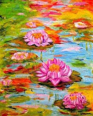 Painting - Morning Light On The Lily Pond by Barbara Pirkle
