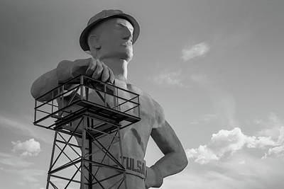 Photograph - Morning Light On The Tulsa Oklahoma Driller - Black And White by Gregory Ballos