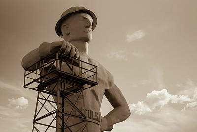 Photograph - Morning Light On The Tulsa Oklahoma Driller - Sepia by Gregory Ballos