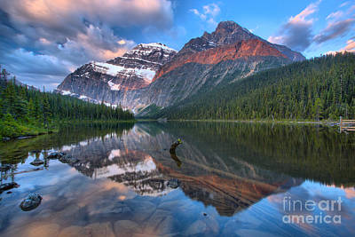 Photograph - Morning Maroon Stripe At Cavell Lake by Adam Jewell