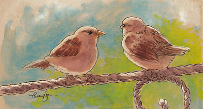 Sparrow Mixed Media - Morning Meeting by Tracie Thompson