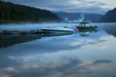 Art Print featuring the photograph Morning Mist Adams Lake by Theresa Tahara