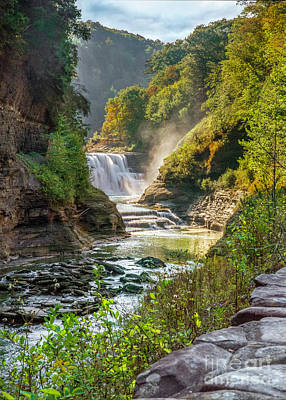 Photograph - Morning Mist At Letchworth Lower Falls by Karen Jorstad