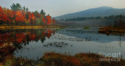 Photograph - Morning Mist At Monadnock - New England Fall Landscape by Jon Holiday