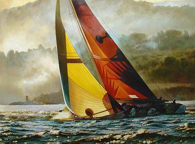 Classic Marine Art Painting - Morning Mist In Saint-tropez by Lucia Amitra