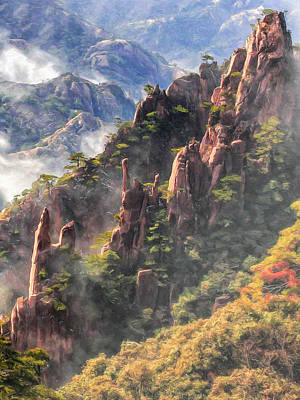 Anhui Painting - Morning Mist On Huangshan Mountain by Dominic Piperata