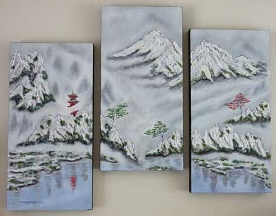 Painting - Morning Mist Triptych by Amelie Simmons