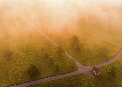 Photograph - Morning Mood Warm Orange Light Aerial Landscape by Matthias Hauser