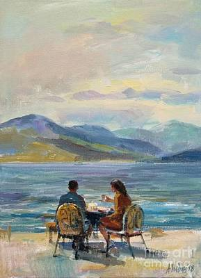 Painting - Morning Near Ohrid Lake Figurative Composition Painting  by Angelina Nedin