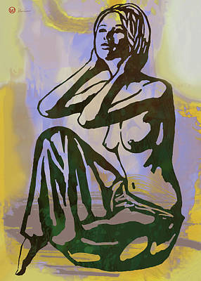 Charcoal Mixed Media - Dawning - Nude Pop Stylised Art Poster by Kim Wang