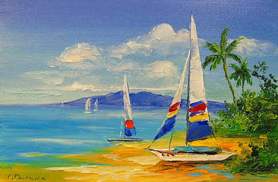 A Sunny Morning Painting - Morning On A Sunny Beach by Olha Darchuk