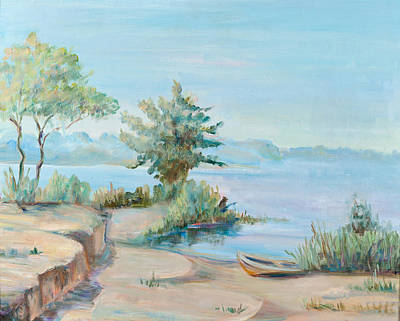 A Sunny Morning Painting - Morning On A Water Basin by Krimzoya Kruiminskaia