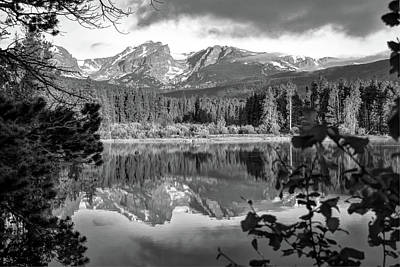 Morning On Sprague Lake - Rocky Mountain National Park - Black And White Art Print