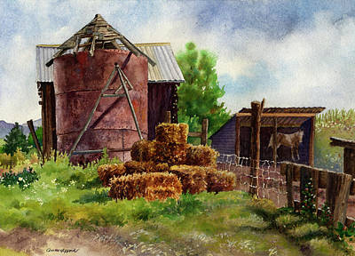 Silos Painting - Morning On The Farm by Anne Gifford