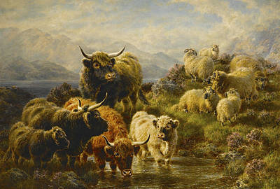Sheep. Landscape Painting - Morning On The Mountains by William Watson