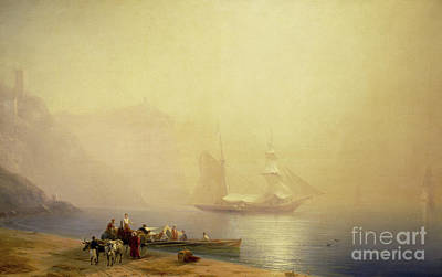 Sailing On Ocean Wall Art - Painting - Morning On The Shore Of The Sea, Sudak, 1856 by Ivan Konstantinovich Aivazovsky