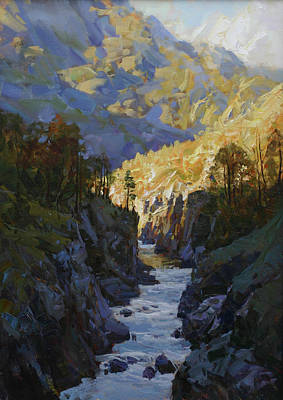 Ice Climbing Painting - Morning On White River by Alexander Babich