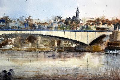 Belgrade Painting - Morning Over Brankos Bridge  by Nenad Kojic