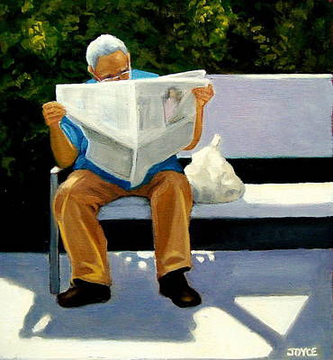 Park Benches Painting - Morning Paper by Joyce Geleynse