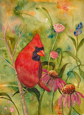 Coneflowers Painting - Morning Perch In Red by Renee Chastant