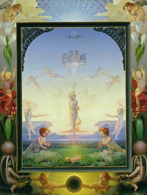 Cherub Painting - Morning by Philipp Otto Runge