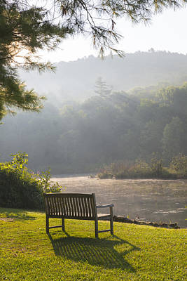 Photograph - Morning Rays On The Pond And Bench by Vance Bell