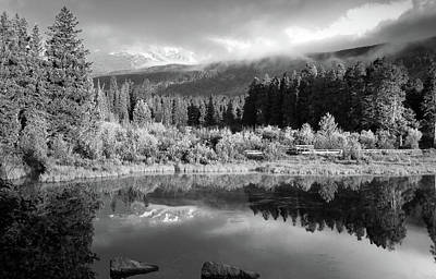 Morning Reflections - Black And White - Colorado Landscape Art Print