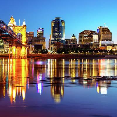 Photograph - Morning Reflections Of The Cincinnati Ohio Skyline by Gregory Ballos