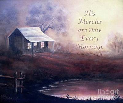 Painting - Morning Reflections - Verse by Hazel Holland