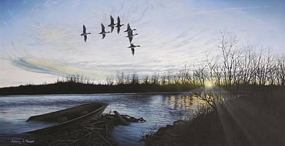 Waterfowl Painting - Morning Retreat - Pintails by Anthony J Padgett
