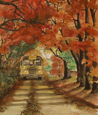 Back To School Painting - Morning Ride by Andrea Birdsey Kelly