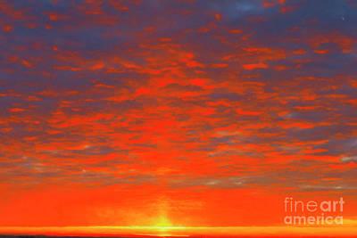 Digital Art - Morning Ripples Watercolor Orange by Donna L Munro