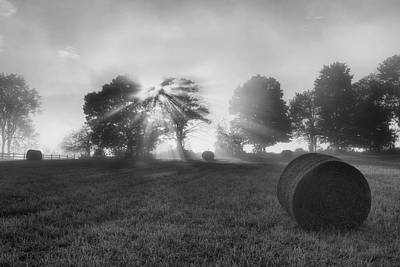 Bucolic Photograph - Morning Rolls Bw by Bill Wakeley