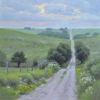 Gravel Road Painting - Morning Rush Hour by Larry DeGraff