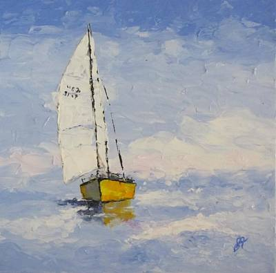Pallet Knife Painting - Morning Sail by Anita Ann Johnson